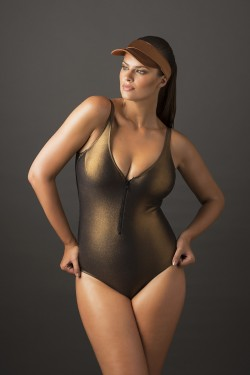 METAL - One-piece swimsuit with zip.